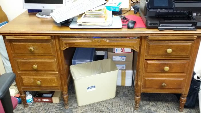 Desk donated by Pauly Family