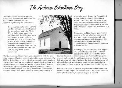 ANDERSON SCHOOLHOUSE STORY